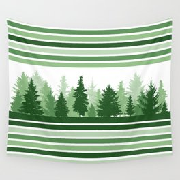 Christmas Evergreen Trees and Green Stripes Winter Wall Tapestry