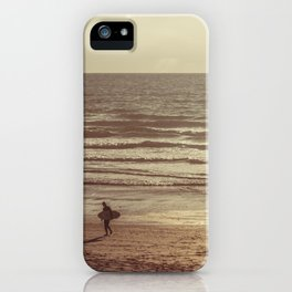 Surfer at Sunset, Fistral Beach, Newquay, Cornwall iPhone Case