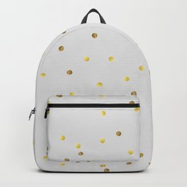 Gold Confetti on Pastel Grey Backpack