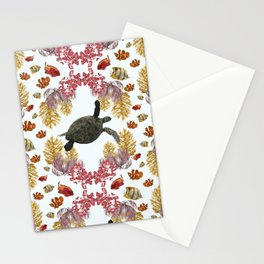 Coral Diamonds Stationery Cards
