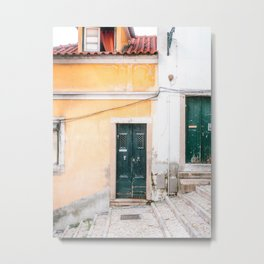 Yellow Lisbon | Front door travel photography Alfama quarter | Portugal  Metal Print