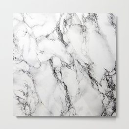 White Marble Texture Metal Print