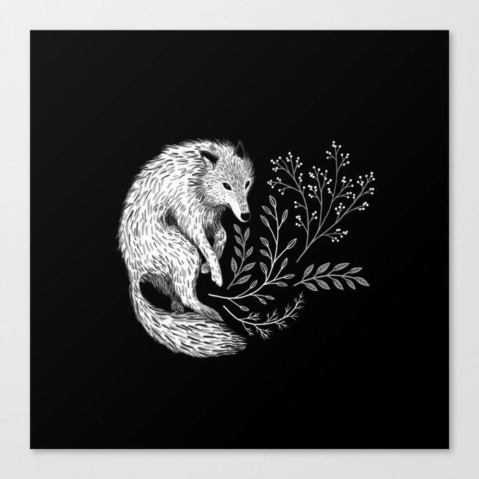 Botanical Wolf Canvas Print