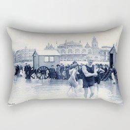 On the beach in 1900, history swimwear Rectangular Pillow