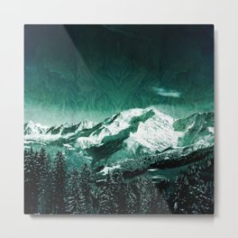 winter mountain mint green aesthetic landscape art altered photography Metal Print