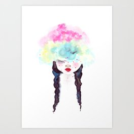 Creative mind Creative soul - watercolors girl Art Print