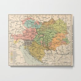 Vintage Map of Austria and Hungary (1911) Metal Print