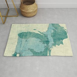Michigan State Map Blue Vintage Rug
