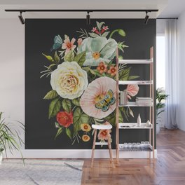 Wildflower and Butterflies Bouquet on Charcoal Black Wall Mural