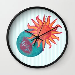zakiaz unity baby blue sun moon Wall Clock