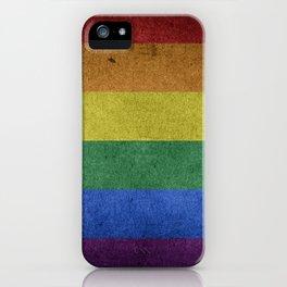 LGBTQ Rainbow Pride Flag (Weathered) iPhone Case