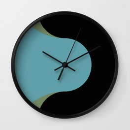 A strong Blue circular wave entering a green and black seaside. Wall Clock