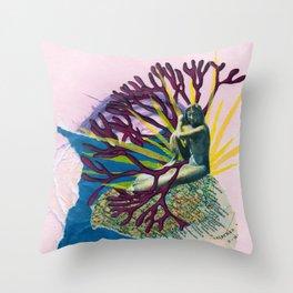 The Last Golden Mermaid Throw Pillow