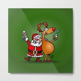 Santa Claus and his Reindeer Metal Print