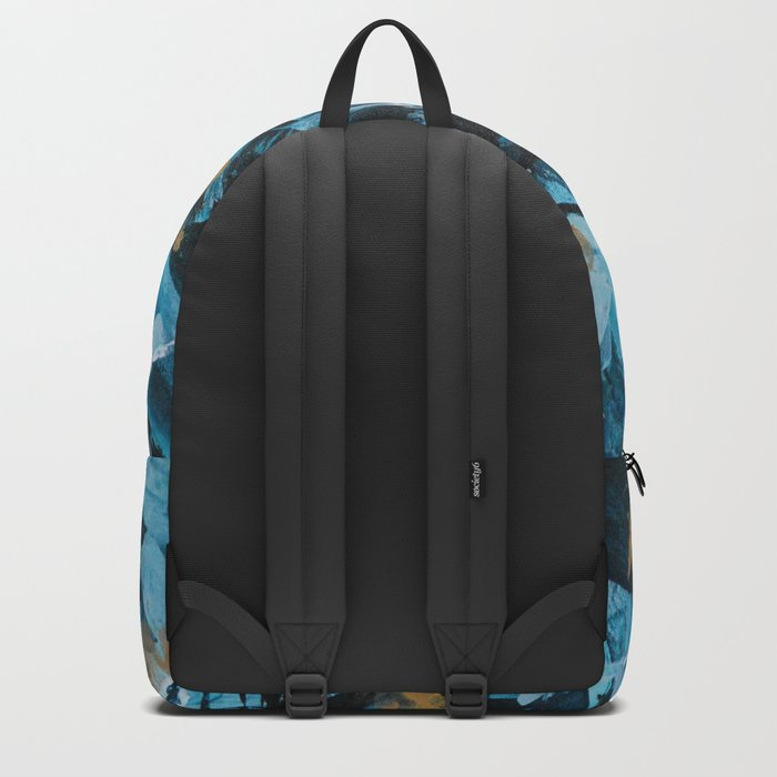 Turquoise and Gold Abstract Painting Backpack