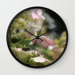 Pink and Green Hydrangea Flower Blossoms with Vintage French Script Wall Clock