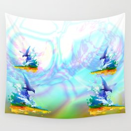Birds flying. Sea, ocean waves. Gulls, colorful watercolor realistic panting. Blue water.. Wall Tapestry