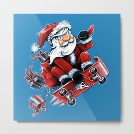 Santa Skateboarding Metal Print