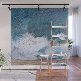 Tropical, Romantic Beach With Foamy Waves Crashing Wall Mural
