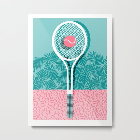 Good to go - memphis throwback 1980s neon pastel abstract sports tennis racquetball athlete game  Metal Print