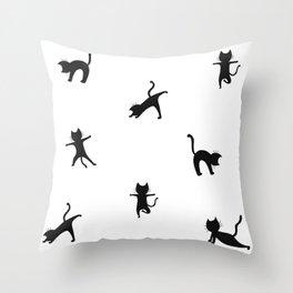 Yoga cats - black cats doing yoga Throw Pillow