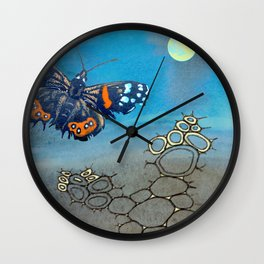 Last Flight of the Red Admiral Butterfly Wall Clock