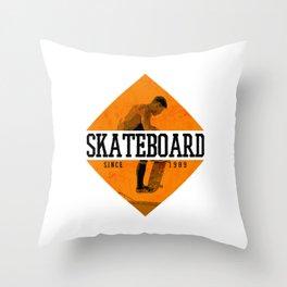 Retro Vintage Shield Skateboard Gift Throw Pillow