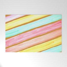 Retro Watercolor Stripes  Welcome Mat