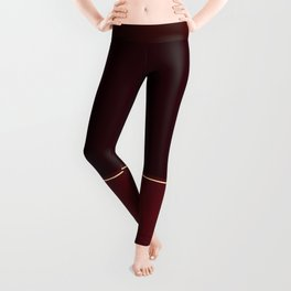 Rich Burgundy Ombre with Gold Stripes Leggings