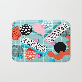 The 411 - wacka abstract memphis grid throwback retro cool neon 80s style minimal mixed media Bath Mat