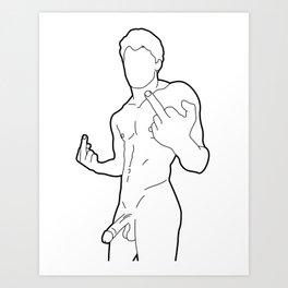 Skinflint Middle Finger Boner Art Print