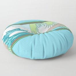 Ala Moana Diamond Head Hawaiian Surf Sign Floor Pillow
