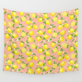You're the Zest - Lemons on Pink Wall Tapestry
