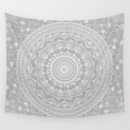 Secret garden mandala in soft gray Wall Tapestry