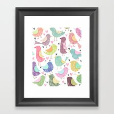 Cute Birdies Pattern Framed Art Print