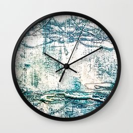 Subtle Blue Textured Acrylic Painting Wall Clock