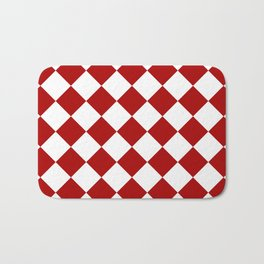 Red and white square pattern Bath Mat