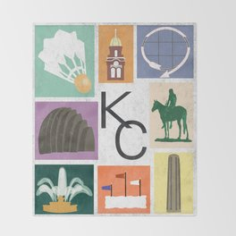 Kansas City Landmark Print Throw Blanket