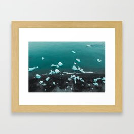 Iceland diamond beach black sand icebergs Framed Art Print