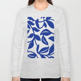 PALM LEAF VINE SWIRL BLUE AND WHITE PATTERN Long Sleeve T-shirt