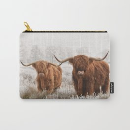 Hairy Scottish highlanders in a natural winter landscape. Carry-All Pouch