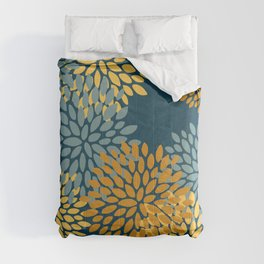 Modern Flowers Print, Dark Teal and Yellow Comforters