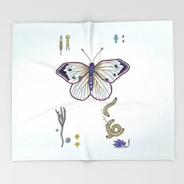 cabbage butterfly Throw Blanket