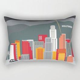 Los Angeles, California - Skyline Illustration by Loose Petals Rectangular Pillow