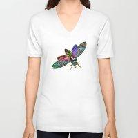 goth V-neck T-shirts featuring Goth Moth by Jan4insight