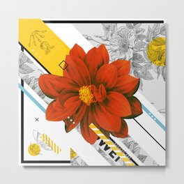 red flower collage Metal Print