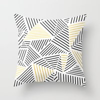 A Linear White Gold New Throw Pillow