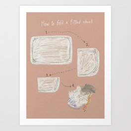How to fold a fitted sheet Art Print