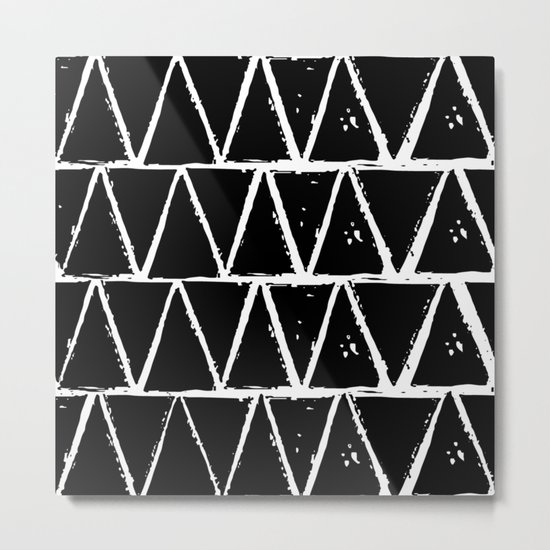 Simple Geometric Zig Zag Pattern- White on Black -Mix & Match with Simplicity of life Metal Print
