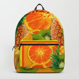 HAWAIIAN PINEAPPLE & ORANGE SLICES GREEN  KIWI FRUIT Backpack